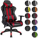 TecTake Chaise fauteuil siège de bureau racing sport ergonomique avec support lombaire et coussin - diverses couleurs au choix - (noir rouge | no. 402030)
