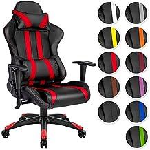 TecTake Chaise fauteuil siège de bureau racing sport ergonomique avec support lombaire et coussin noir rouge
