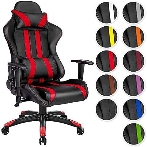 TecTake Poltrona sedia direzionale da ufficio racer racing classe di lusso con supporto lombare nero rosso