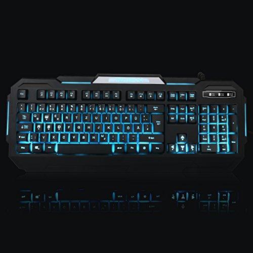 TEC.BEAN 7 Farben Beleuchtete Spiel Gaming Tastatur USB Verdrahtet, Schwarz - 9