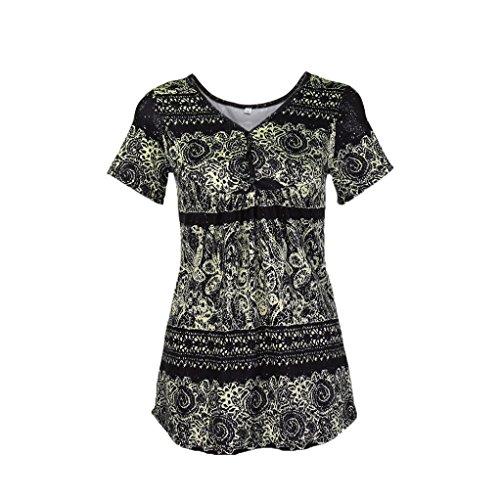 iHENGH T-Shirt Damen Sommer V-Ausschnitt Knopf Vorne Plissiert Ausgestellte Bequeme Verlieren Tunika Top Bluse - Black Velvet Top Hat