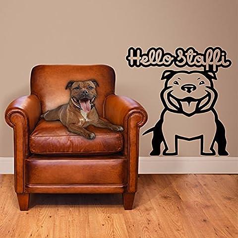DIY Creative Hello Stafford Bulldog Art Wall Stickers PVC removable