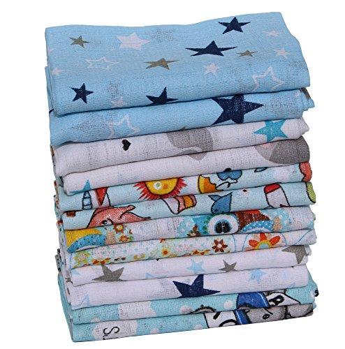 Clevere Kids Mulltücher Set 12 Stück Mix Jungen oder Mädchen Öko-Tex zertifiziert doppelt gewebt (Set Jungs bedruckt)