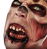 shoperama Horror-Zähne mit Thermoplast Kleber wiederverwendbar Fangzähne Eckzähne Gebiss Dracula Blutsauger Dämon FX Halloween, Variante:Zombie