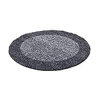 Hochflor Langflor Design Shaggy Runder Teppich 2 colors different Sizes rund - Grey-Lightgrey, 120x120 cm Round