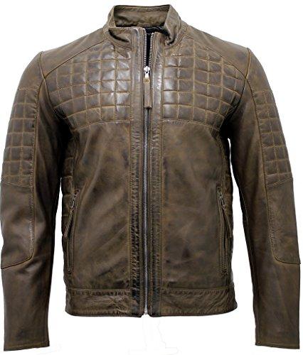 Männer Beiläufig gesteppte Braun Bikerjacke aus Leder L