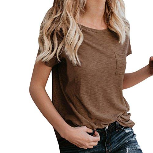 IMJONO IMJONO.Frauen-beiläufige Lose Reine Taschen-Kurzschluss-Hülsen-Ernte-Spitzen-Bluse(Braun,Small)