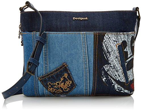 Desigual Damen Bols_Exotic Mickey Baqueira Umhängetasche, Blau (Denim Dark Blue), 2x23x30.5 cm