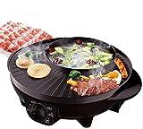 Korean Style BBQ Poke Hot Pot Dual Pot Barbecue Maschine, Non-Stick All Powerful Stovetop Grill Elektrische Multifunktionale Rauchfrei Runde Backen Pan Multi-Purpose Pot, Schwarz