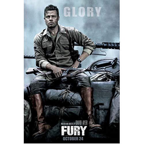 taoyuemaoyi Wandkunst Gemälde Wut Film Brad Pitt Poster Leinwand Tuch Drucke Dekoration 40 * 60 cm