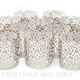 Frux Home and Yard FLAMELESS TEA LIGHT VOTIVE WRAPS- 48 Silver colored laser cut decorative wraps for Flickering LED Battery Tealight Candles (not included)
