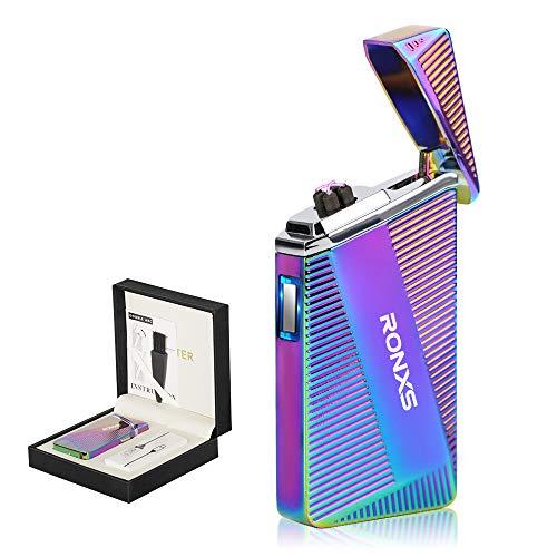 Mechero eléctrico, Doble Arco de luz, Encendedor USB Eléctrónico, sin Llama, Encendedor de Cigarrillos, USB Recargable, Resistente al Viento con Caja de Regalo