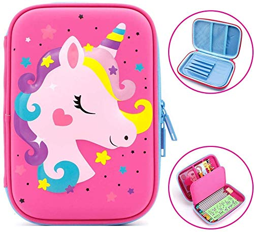 Aysis Premium Stylish Unicorn Digital Print Large Capacity Hardtop EVA Pencil Case Organizer School Kids Boys Girls Women Pen Holder Pouch Multipurpose-Baby Toys (HoursePink)