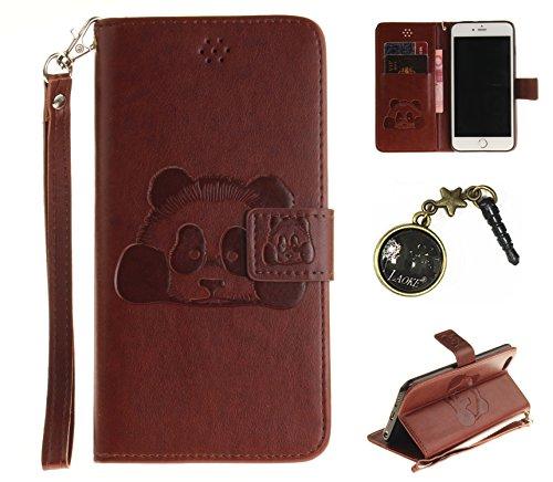 PU Prägen Panda Silikon Schutzhülle Handyhülle Painted pc case cover hülle Handy-Fall-Haut Shell Abdeckungen für Smartphone Apple iPhone 6 Plus (5.5 Zoll) +Staubstecker (4CQ) 1