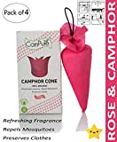 MANGALAM CamPure Rose Camphor Cone Room Freshener, Mosquito and Insect Repellent (13.5 x 8X 21 CM) - Pack of 4