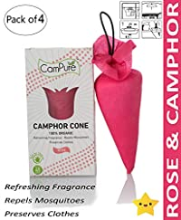 Mangalam CamPure Rose Camphor Cone Room Freshener, Mosquito and Insect Repellent - Pack of 4