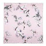 Neuleben Schal Nickituch aus 100% Seide Halstuch Kopftuch Seidenschals mit Blumenmuster (B-Pink)