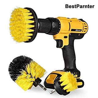 BestParnter Drillbrush 3Pcs Scrub Brush Drill Attachment Kit,Time Saving Kit And Power Scrubber Cleaning Kit, For Car, Bathroom, Wooden Floor, Laundry Room Cleaning (Yellow)