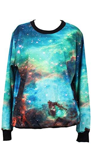 Thenice Pull à imprimé numérique pour femme Sweat-shirt - Green Galaxy Star