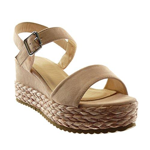 9d8566373a3d0d Angkorly Chaussure Mode Sandale Mule Lanière Cheville Plateforme Femme avec  de la Paille Tréssé Lanière Talon