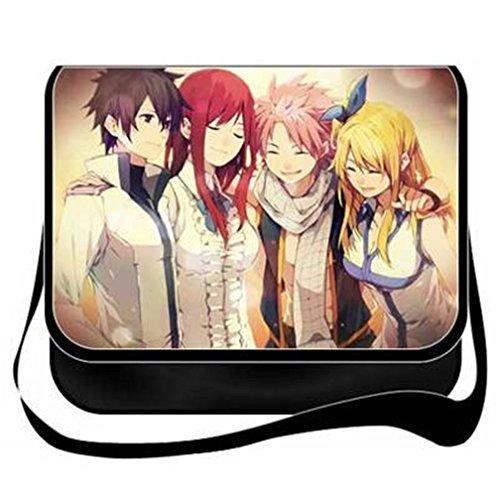 yoyoshome Fairy Tail Anime Cosplay Messenger Bag Umhängetasche Handtasche Umhängetasche Rucksack Schultasche schwarz 11