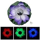Luz de Loto, bloomma Decoración de estanque flotante flor de loto solar LED que cambia color flor Lámpara de noche luces para la fiesta de piscina Garden House Decoración de Boda de Navidad