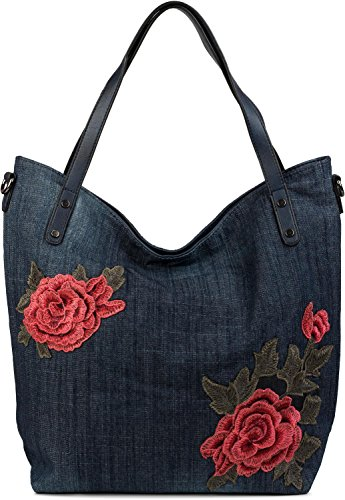 styleBREAKER Jeans Shopper Tasche mit Rosen Blüten Patch Applikation, Handtasche, Schultertasche, Tote Bag, Damen 02012201, Farbe:Dunkelblau (Flower Patch Tote)