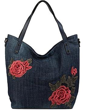 styleBREAKER Jeans Shopper Tasche mit Rosen Blüten Patch Applikation, Handtasche, Schultertasche, Tote Bag, Damen...
