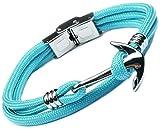 Lufetti Armband Anker Steel 3 Edelstahl türkis blau, Länge kürzbar (türkis)