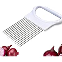 Yhcean Stainless Steel Onion Tomato Fixator Potato Meat Fruit Slicing Cutter_White