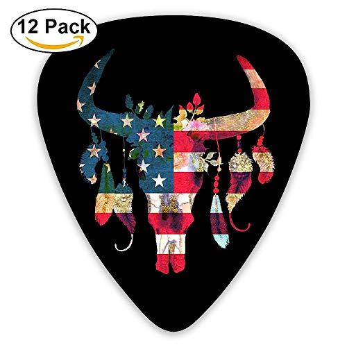 No Drama Llama Gitarrenplektren für E-Gitarre, Akustikgitarre, Mandoline und Bass (12 Stück) Einheitsgröße American Flag Bull Skull With Flowers And Feathers -