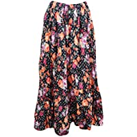 Mogul Interior Womens Festival Skirt Black Floral Cotton Bohemian Gypsy Maxi Skirts