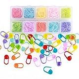 rungao 104 pcs Holder Clip Craft colorido Multicolor de punto de bloqueo de punto marcador de ganchillo aguja con compartimento caja (8 colores a juego)