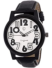 Lugano LG 1106 Classic Blk Number Glass/Black Printed Silver Dial Watch - For Men