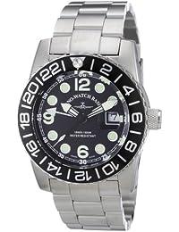 Zeno Watch Basel Quarz 6349Q-GMT-a1-1M - Reloj analógico de cuarzo para hombre, correa de acero inoxidable color plateado (agujas luminiscentes, cifras luminiscentes)