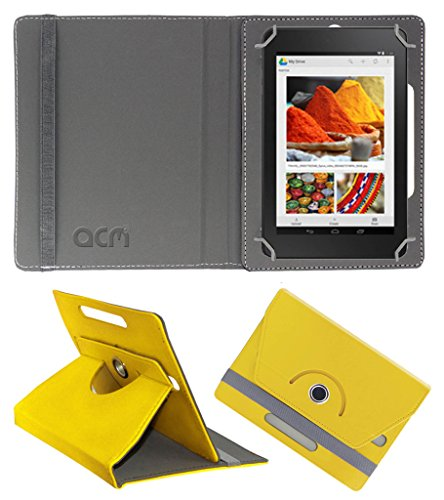 Acm Rotating 360° Leather Flip Case for Dell Venue Cellular 7 Cover Stand Yellow  available at amazon for Rs.149