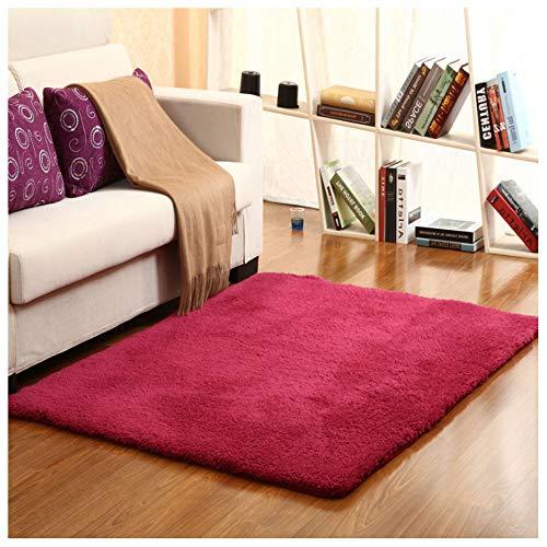 WLDD Kaschmir Polyester Verdickung rutschfeste Teppich Wohnzimmer Couchtisch Schlafzimmer Teppich Fuß Pad Nacht Teppich Fenster Teppich Waschbarer Teppich (Farbe : A, größe : 300x400cm) - Kaschmir-schwarz-teppich