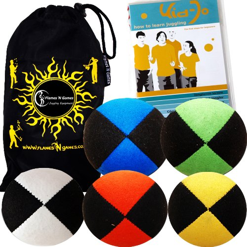 Jonglierbälle 5er Set: Profi Beanbag Bälle aus Velours + Kid-Jo DVD Jonglieren lernen (Deutsch)+Tasche. Komplett-Set Für Anfänger Wie Auch Für Profis.