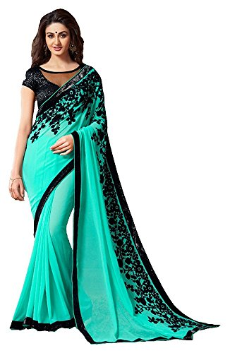 LAXMI FASHION Women's Georgette Saree (Blue)