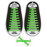 Di Ficchiano DF-Silikon-Green Premuim No Tie Shoelaces für Kinder und Erwachsene/Flache elastische Schnürsenkel für Sneaker, Sport- und Freizeitschuhe