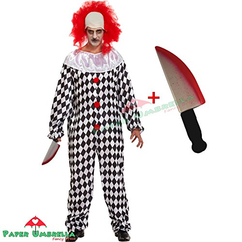Mens Pagliaccio spaventoso + costume falso Knife