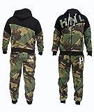 Tuta (felpa con cappuccio + pantaloni) da jogging in pile da uomo, colore nero e turchese, Camouflage Khaki, medium