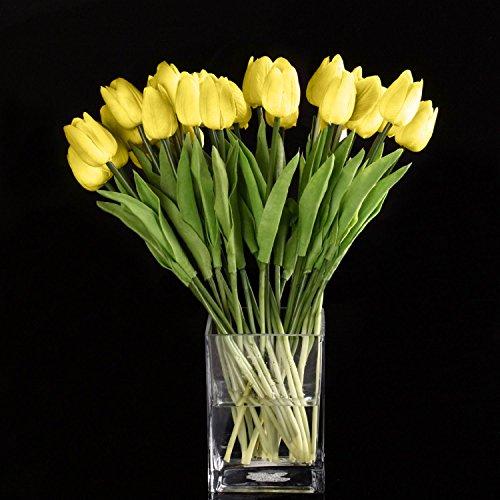 Fiori artificiali,Cozyswan 24 pcs PU Tulip Real Touch Latex Tulipano per la cerimonia nuziale per la decorazione domestica - Giallo