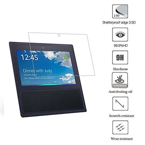 Echo Show Schutzfolie Glas Displayschutzfolie Screen Protector für Amazon Echo Show 2017 High Definition Anti-Scratch Blasenfrei 9H Hardness aus gehärtetem