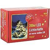 Idena 8325066 - LED Lichterkette mit Timerfunktion, 200er warm weiß, für außen