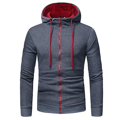 MRULIC Herren Herren Langarm Hoodie mit Kapuze Sweatshirt Tops Jacke Mantel Outwear(Grau,EU-46/CN-XL)