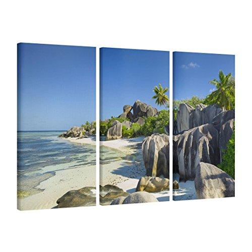 Bilderwelten Leinwandbild 3-teilig - Traumstrand Seychellen - Hoch 2:1 Leinwand XXL Leinwanddruck...