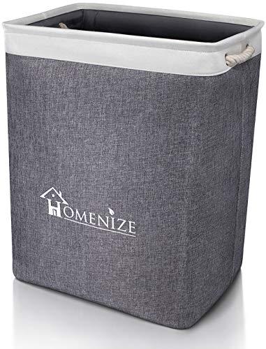 HOMENIZE Moderner Wäschekorb inkl. eBook für exzellente Ordnung - 65 Liter Faltbarer Wäschepuff im eleganten Design für die ganze Familie