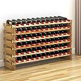 Keinode Weinregal, 6 Etagen, stapelbar, Regal aus Massivholz, 72 Flaschen, Kapazität für Küche, Restaurant, Zuhause, Büro, Bar 6 Tier