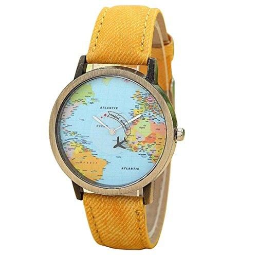 Uhr Damen Uhren DAY.LIN Fashion Global Reisen mit dem Flugzeug Karte Frauen Kleid Uhr Denim Fabric Band (Gelb)